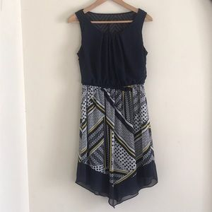 CUTE DRESS NAVY TEXTURED TOP AND PATTERNED SKIRT